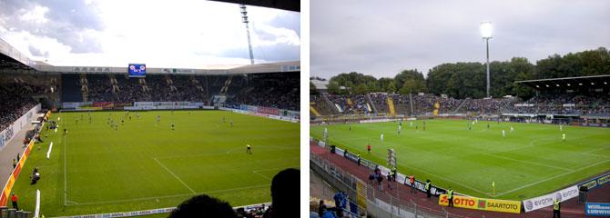 Die Stadien in Rostock (l.) und Saarbrücken (Bilder: M.Kneifl)