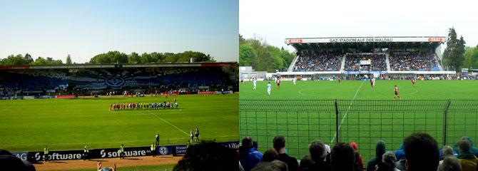 Das Stadion am Böllenfalltor und das Stadion auf der Waldau (Quelle: M.Kneifl / W.-D.Retzbach)
