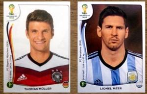 Die Panini-Sticker der Torjäger Thomas Müller und Lionel Messi