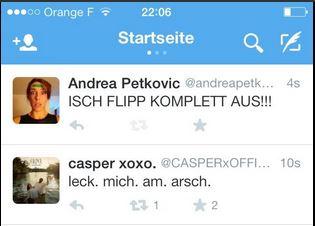 Gerade fiel das 1:3: Der Bielefelder Musiker Casper und Tennisspielerin Andrea Petkovic aus Darmstadt setzen emotionale Tweets in die Welt. (Quelle: Twitter)