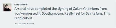 Lineker-Tweet_Arsenal sign Chambers